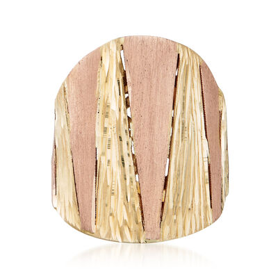 Italian 18kt Two-Tone Diamond-Cut Ring, , default