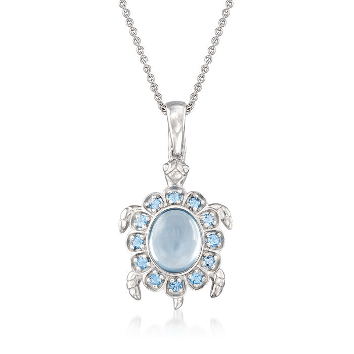 3.50 ct. t.w. Sky Blue Topaz Turtle Pendant Necklace in Sterling Silver