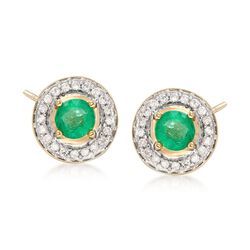 .90 ct. t.w. Emerald and .24 ct. t.w. Diamond Earrings in 14kt Yellow Gold, , default