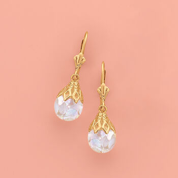 Floating Opal Drop Earrings in 14kt Yellow Gold