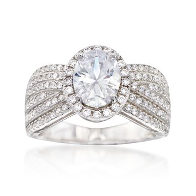 2.75 ct. t.w. CZ Multi-Row Halo Ring in Sterling Silver, , default