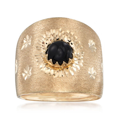 Italian Black Onyx Wide Ring in 14kt Yellow Gold