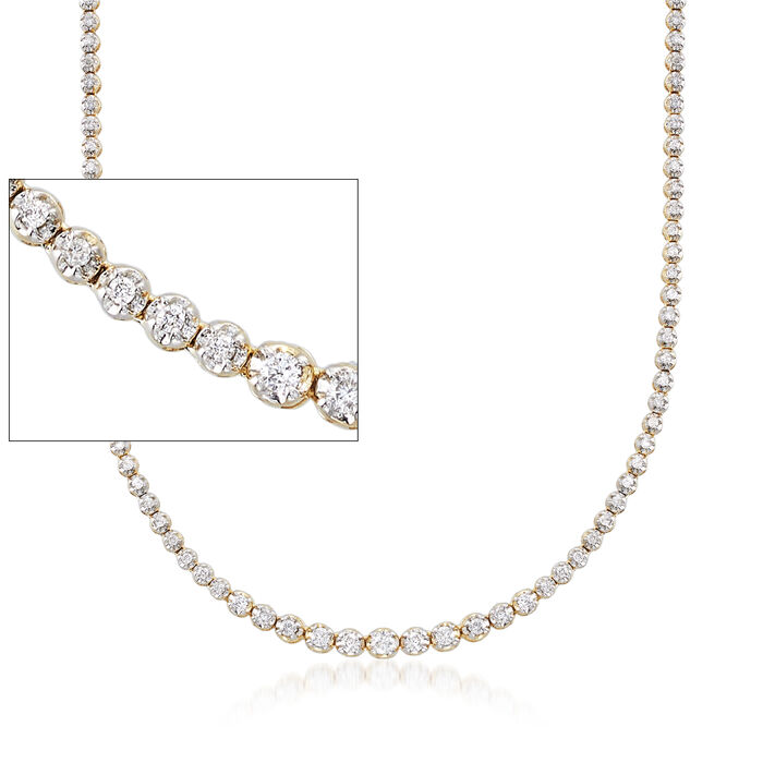 2.50 ct. t.w. Graduated Diamond Tennis Necklace in 14kt Yellow Gold