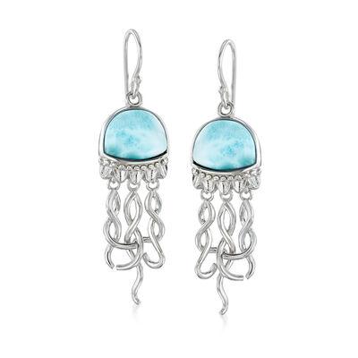 Larimar Jellyfish Drop Earrings in Sterling Silver, , default