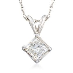 1.00 Carat Princess-Cut Diamond Pendant Necklace in 14kt White Gold , , default