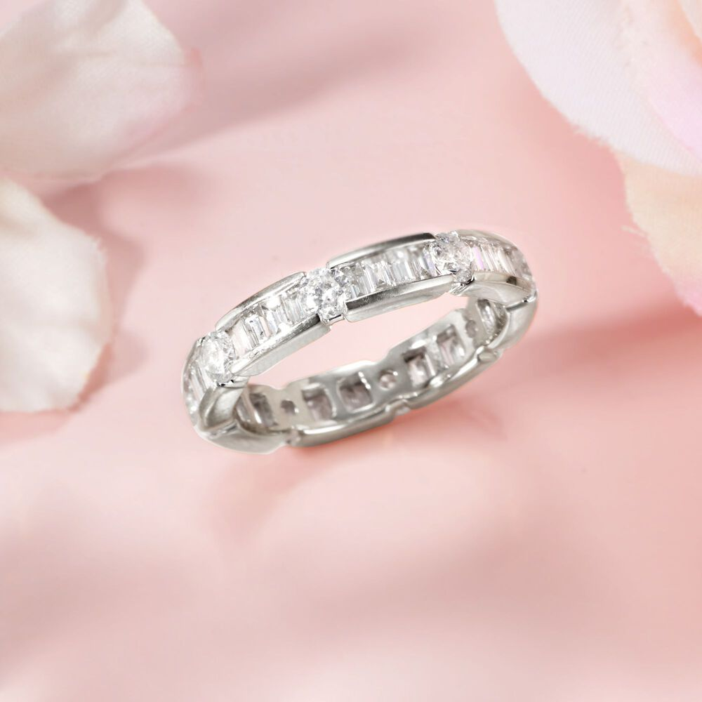 2.00 ct. t.w. Baguette and Round Diamond Eternity Band in 14kt White ...