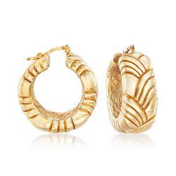 "Italian 18kt Gold Over Sterling Patterned Hoop Earrings. 1 1/4"", , default"