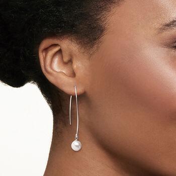 8-8.5mm Cultured Pearl Threader Drop Earrings in Sterling Silver