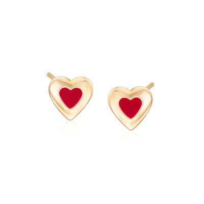 Child's Enamel Heart Earrings in 14kt Yellow Gold, , default