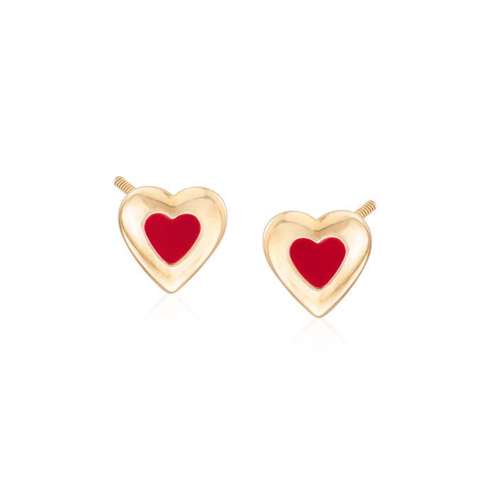Child's Enamel Heart Earrings in 14kt Yellow Gold, , default