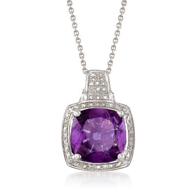 5.50 Carat African Amethyst Pendant Necklace in Sterling Silver, , default