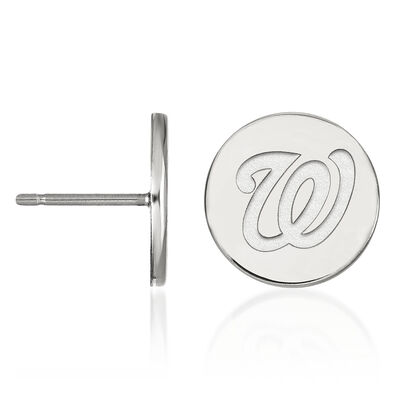 Sterling Silver MLB Washington Nationals Small Disc Earrings, , default