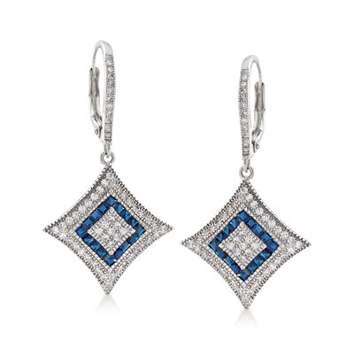 .68 ct. t.w. CZ and .64 ct. t.w. Simulated Sapphire Drop Earrings in Sterling Silver