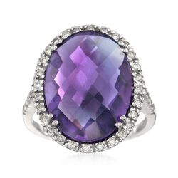 11.00 Carat Amethyst and .34 ct. t.w. Diamond Ring in 14kt White Gold , , default