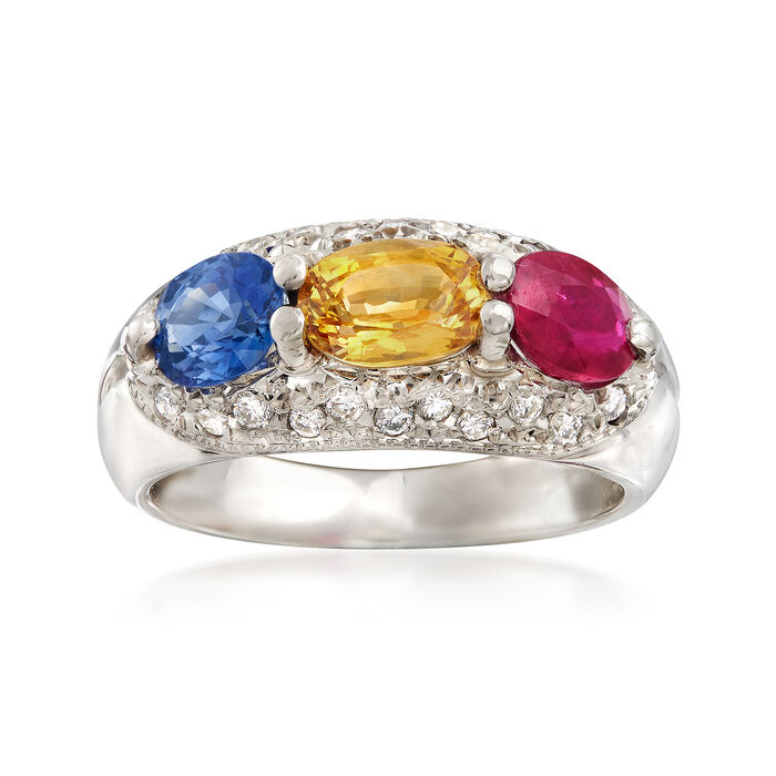 C. 2000 Vintage 2.66 ct. t.w. Multi-Stone and .23 ct. t.w. Diamond Ring in Platinum. Size 6.5
