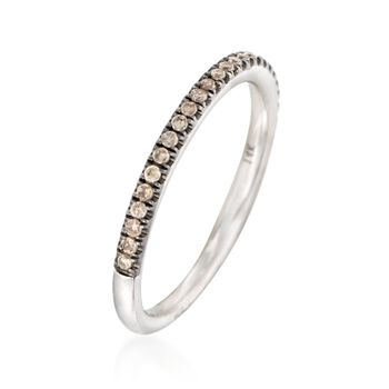 Henri Daussi .15 ct. t.w. Brown Diamond Wedding Ring in 14kt White Gold, , default
