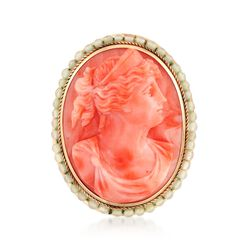 C. 1930 Vintage Pink Coral Cameo and Glass Pin in 10kt Yellow Gold, , default