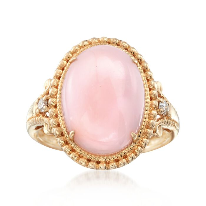 Pink Opal Ring with Diamond Accents in 14kt Yellow Gold, , default