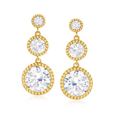 4.94 ct. t.w. CZ Linear Drop Earrings in 14kt Yellow Gold, , default