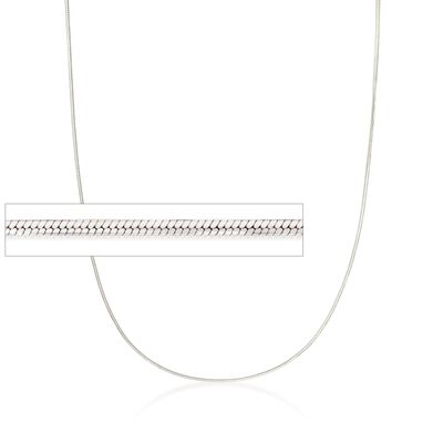 1mm Sterling Silver Squared Snake Chain Necklace, , default
