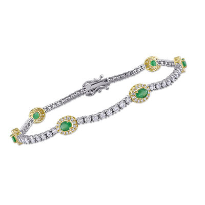 6.00 ct. t.w. Emerald and 2.03 ct. t.w. Diamond Station Tennis Bracelet in 14kt Two-Tone Gold