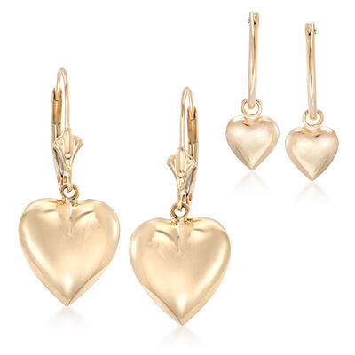 Mom & Me Heart Drop Earring Set of 2 in 14kt Yellow Gold