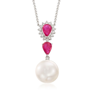 1.30 ct. t.w. Ruby, .30 ct. t.w. Diamond and 11-12 mm Cultured South Sea Pearl Drop Necklace in 18kt White Gold, , default