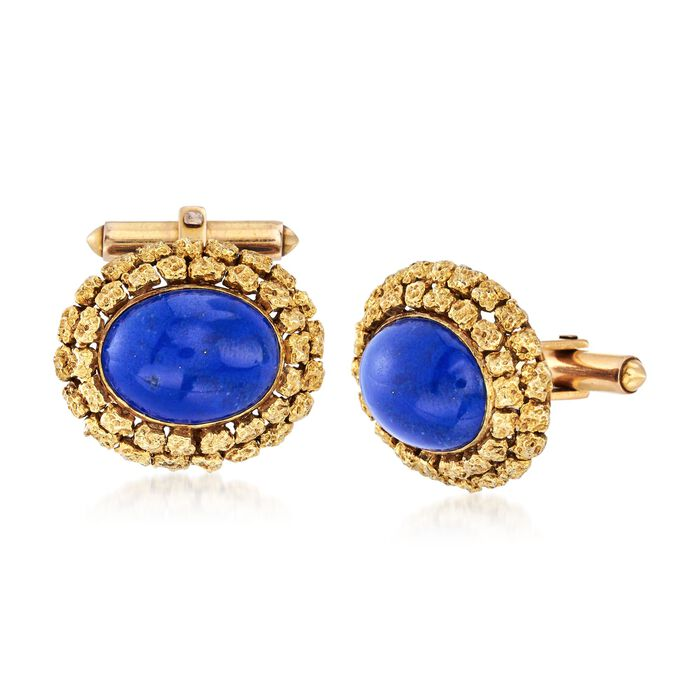 C. 1960 Vintage Men's Lapis Cuff Links in 14kt Yellow Gold , , default