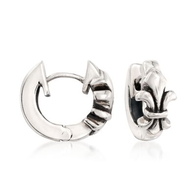 "Zina Sterling Silver ""Fleur De Lis"" Huggie Hoop Earrings, , default"
