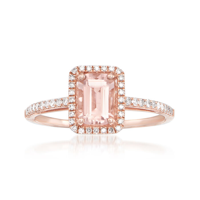 .90 Carat Morganite and .22 ct. t.w. Diamond Ring in 14kt Rose Gold, , default