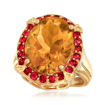 8.00 Carat Citrine and .80 ct. t.w. Orange Sapphire Ring in 18kt Yellow Gold Over Sterling. Size 7, , default