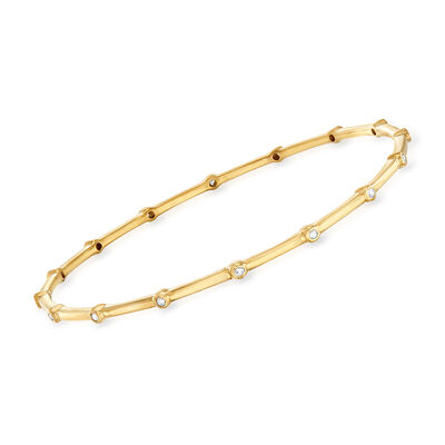 .25 ct. t.w. Diamond Bezel Bangle Bracelet in 18kt Gold Over Sterling, , default