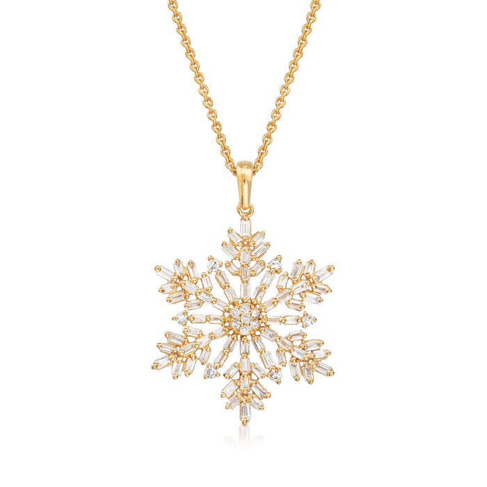 .54 ct. t.w. Diamond Snowflake Pendant Necklace in 18kt Gold Over Sterling
