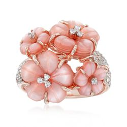 7.5-11.5mm Pink Mother-Of-Pearl and .23 ct. t.w. White Zircon Floral Ring in 18kt Rose Gold Over Sterling, , default