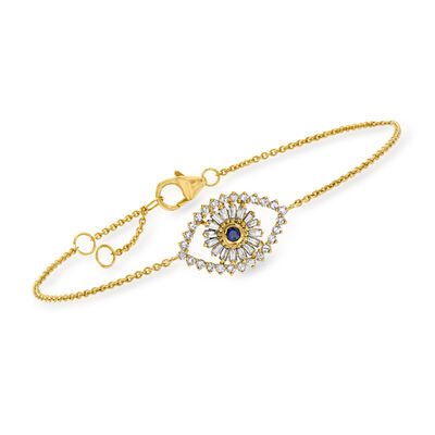 .38 ct. t.w. Diamond Evil Eye Bracelet with Sapphire Accent in 18kt Gold Over Sterling