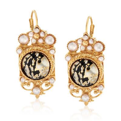 Italian Cultured Pearl and Black Enamel Drop Earrings in 18kt Gold Over Sterling, , default