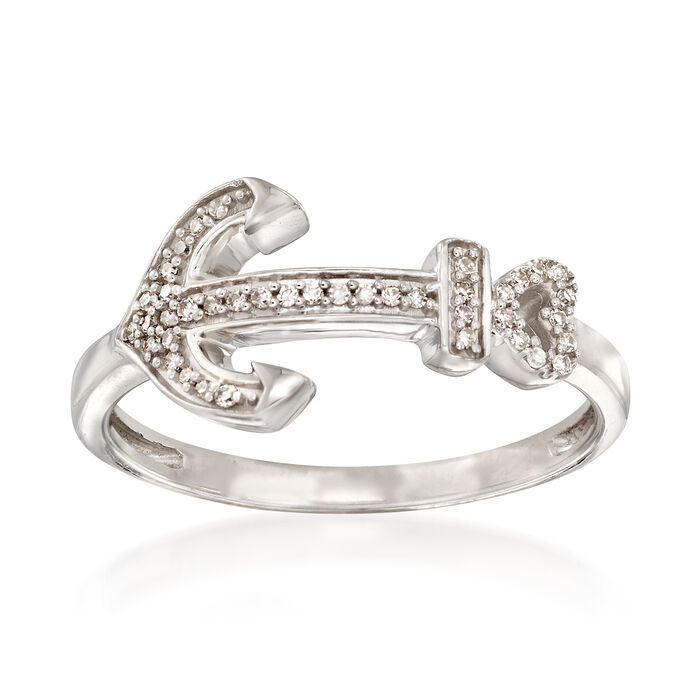 Sterling Silver Anchor Ring with Diamond Accents, , default