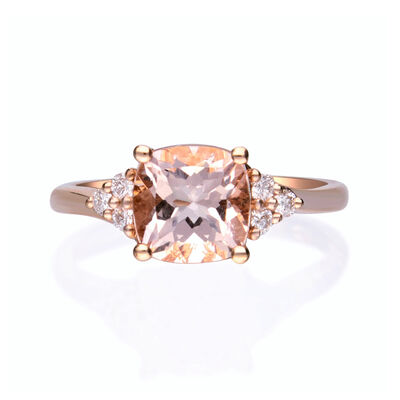1.80 Carat Morganite and .15 ct. t.w. Diamond Ring in 14kt Rose Gold