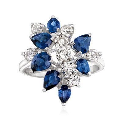 C. 1980 Vintage 1.75 ct. t.w. Sapphire and 1.00 ct. t.w. Diamond Cluster Ring in 14kt White Gold