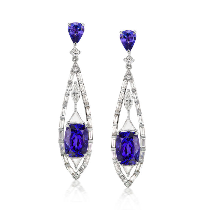Tanzanite and 3.36 ct. t.w. Diamond Drop Earrings in 18kt White Gold