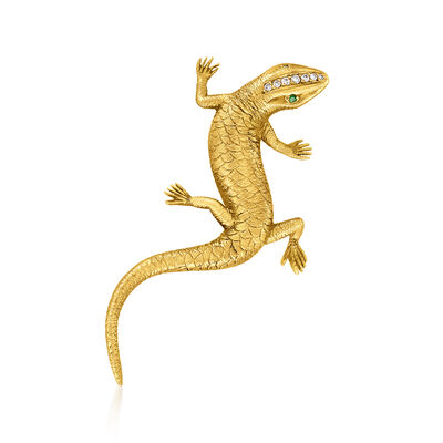 C. 1963 Vintage .10 ct. t.w. Diamond Salamander Pin in 18kt Yellow Gold with Green Garnet Accents and British Hallmark
