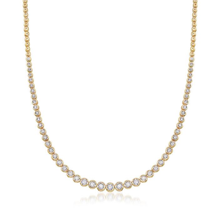1.50 ct. t.w. Bezel-Set Diamond Necklace in 18kt Gold Over Sterling, , default