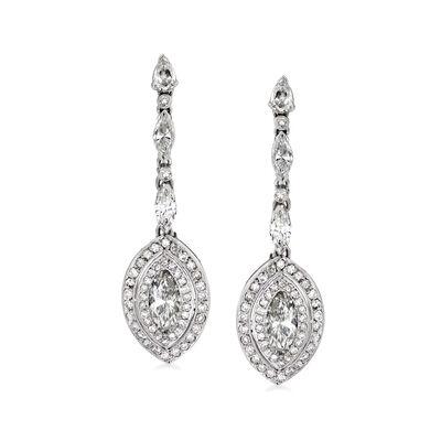 C. 1980 Vintage 3.26 ct. t.w. Diamond Drop Earrings in Platinum, , default