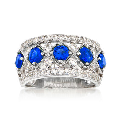 1.10 ct. t.w. Simulated Sapphire and .80 ct. t.w. CZ Ring in Sterling Silver