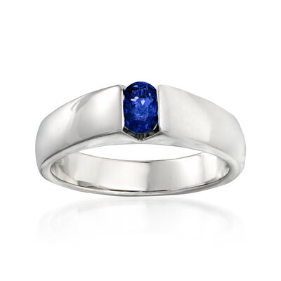 C. 1990 Vintage Salvini .35 Carat Oval Sapphire Ring in 18kt White Gold, , default