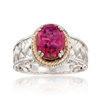 2.70 Carat Mystic Berry Quartz Basketweave Ring in 14kt Gold and Sterling Silver, , default