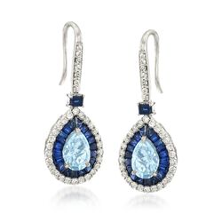 3.00 ct. t.w. Multi-Stone and .95 ct. t.w. Diamond Drop Earrings in 14kt White Gold, , default