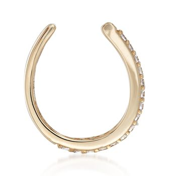 CZ-Accented Single Ear Cuff in 14kt Yellow Gold, , default