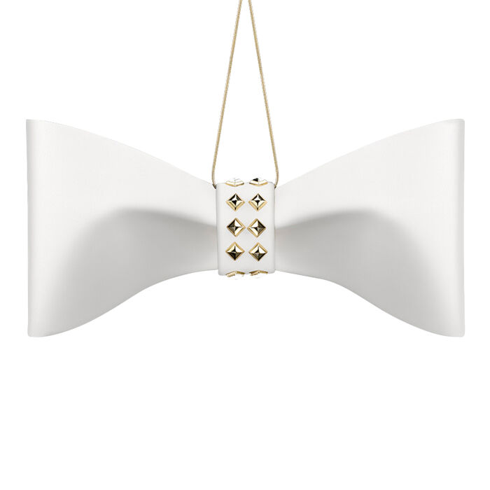Crystamas White Lambskin Leather Bow Ornament with Yellow Gold Studs