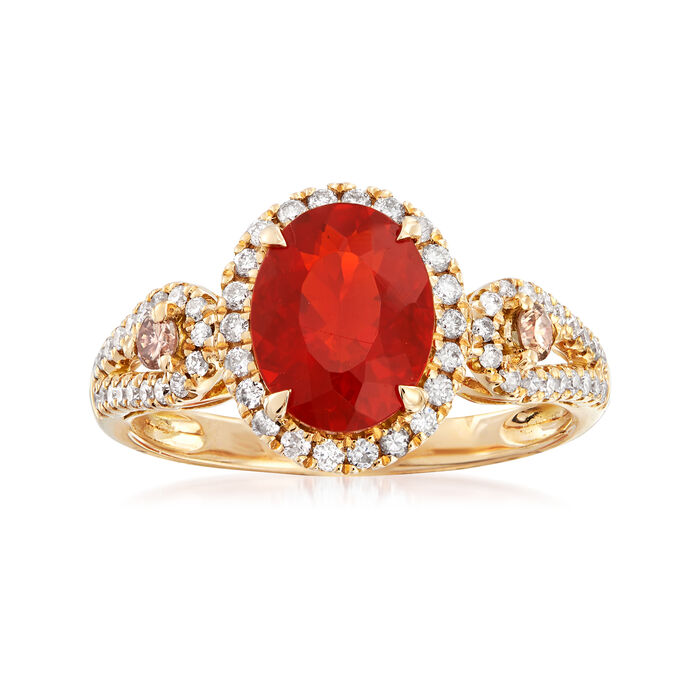 Fire Opal and .48 ct. t.w. Diamond Ring in 14kt Yellow Gold. Size 7
